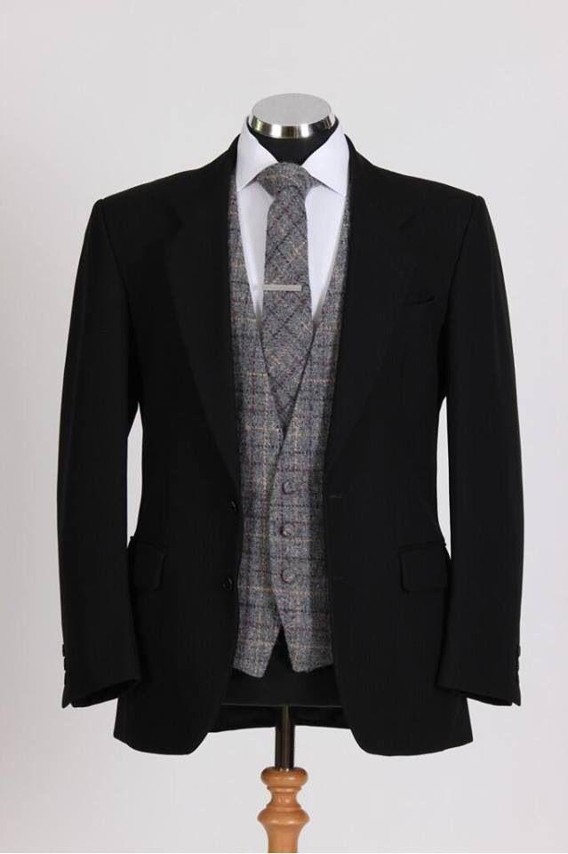 Wedding suit - Tweed waistcoat & tie