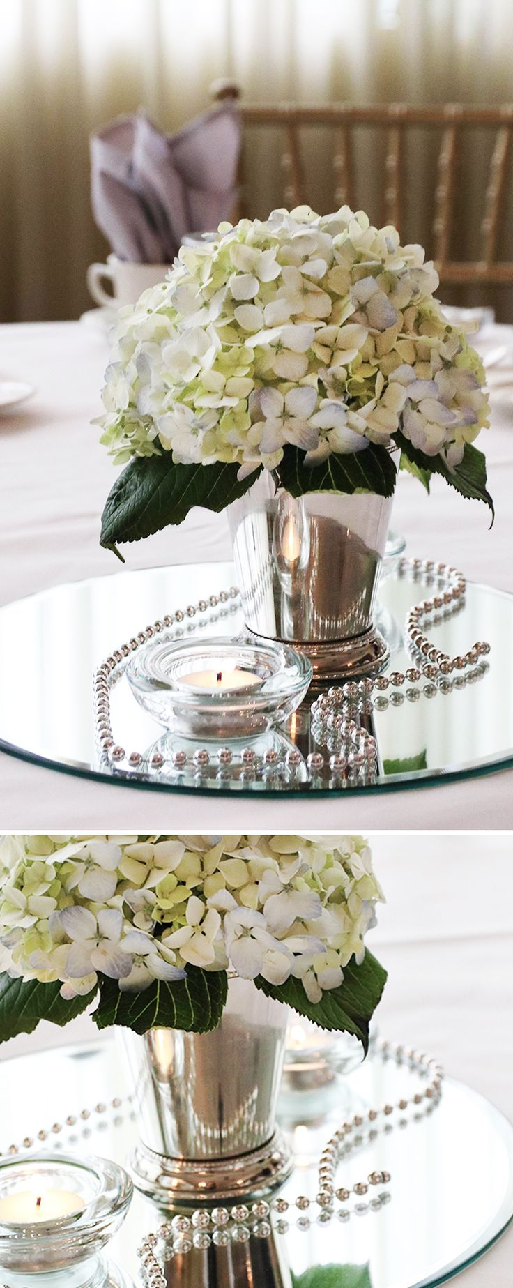 Mint Julep cups aren't just for cocktails. They also double as stunning wedding centerpieces. Available in multiple designs and finishes like silver and copper.