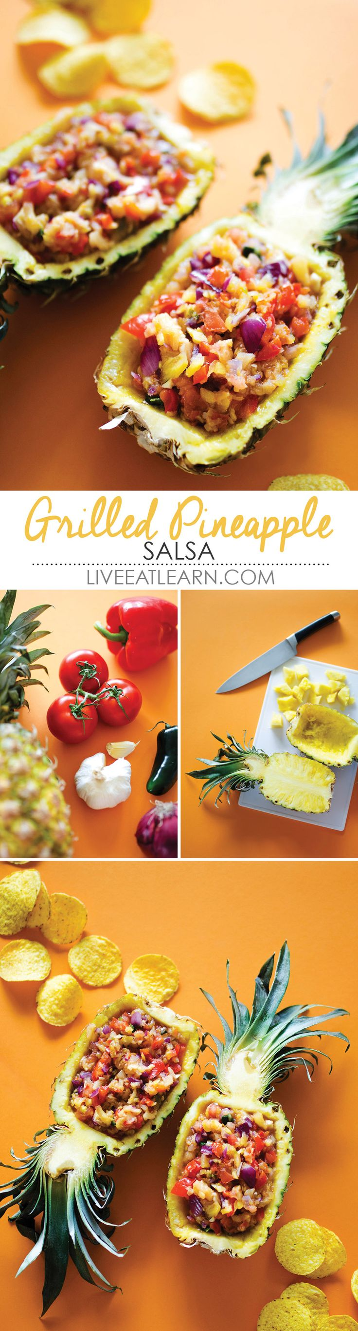 This healthy Grilled Pineapple Salsa recipe is sweet, spicy, savory, and comes together in minutes. Serve it as a sauce with chips for an appetizer or snack, as a salad topper, over barbeque or tacos, or really in any summer meal. Packed with flavor and fun, this is sure to be a family favorite. // Live Eat Learn