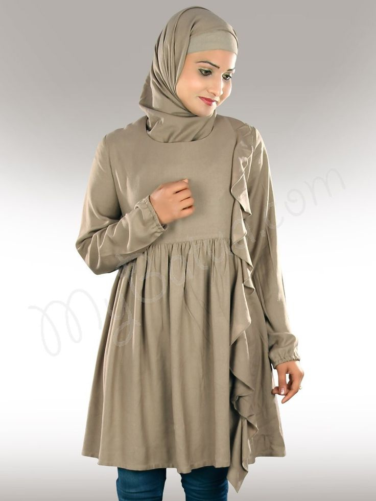 Casual Khaki Rayon Tunic !  Style No :  Krf-103  Shopping Link  :  http://www.mybatua.com/khaki-rayon-casual-muslim-tunic-tops-for-women  Available Sizes XS to 7XL (size chart: http://www.mybatua.com/size-chart/#ABAYA/JILBAB)  •Stylish designer tunic with frills in front •Gathers on waist line •Utility pockets on both sides •Straight sleeves with elastic gathered hem finish •Matching sqaure Hijab and Band can be bought separately. •Fabric: Rayon  •Color: Khaki •Care: Dry Clean