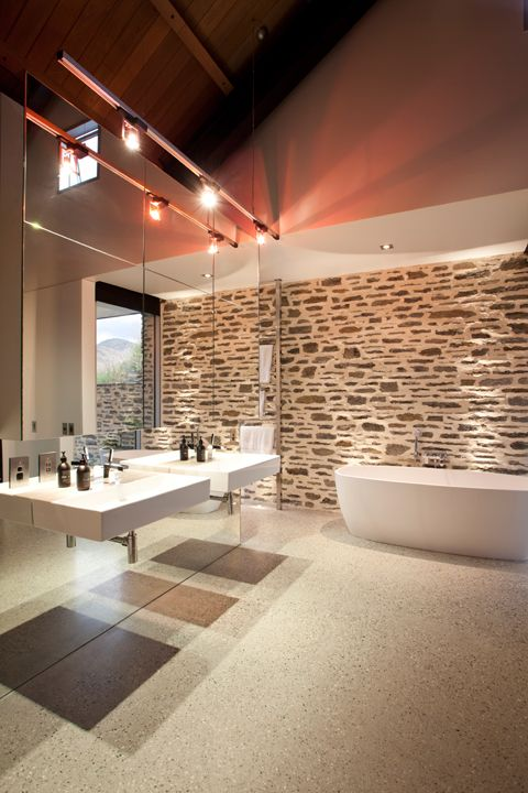 desire to inspire bathroom with free standing bath and wall hung basins. #bathroom #sydney