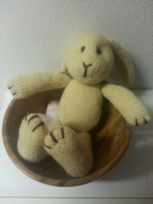Stuffed hand knitted bunny toy