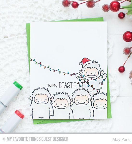 Handmade card from May Park featuring Birdie Brown Beast Friends stamp set #mftstamps
