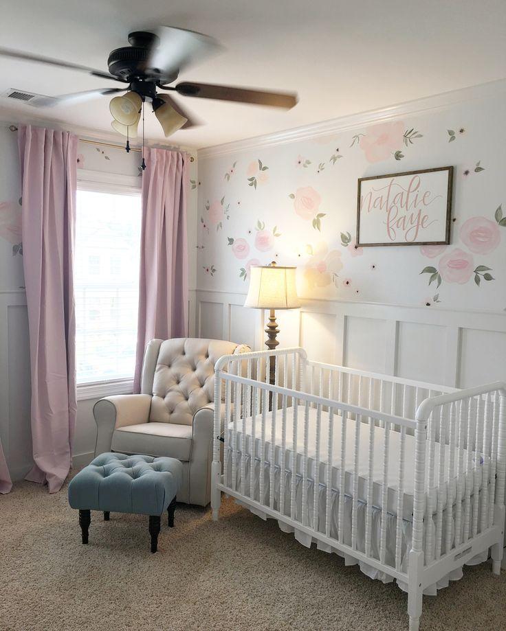 Baby girl nursery. Floral walls. Floral nursery. Pink curtains. Jenny Lind crib. Nursery glider. Nursery rocker.