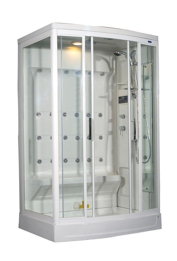52 Inch x 39 Inch x 85 Inch Steam Shower Enclosure Kit with 24 Body Jets in White with Right Hand #SteamShowerEnclosure