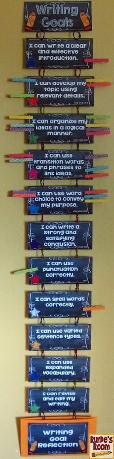 Runde's Room: Differentiation in Writing - Goal-Setting Clip Chart Maybe we can make a list of things that kids need to work on for the first goal???