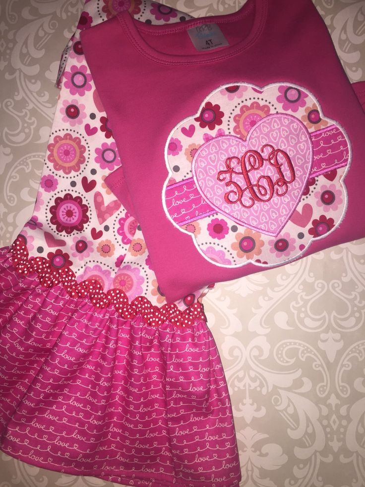 valentine monogram outfit for girls valentine applique ruffle tee shirt and pants girls valentine