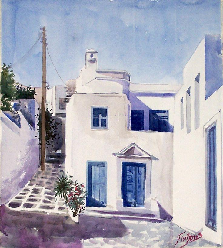 Aegean village 40x45cm watercolor by Babis Douzepis