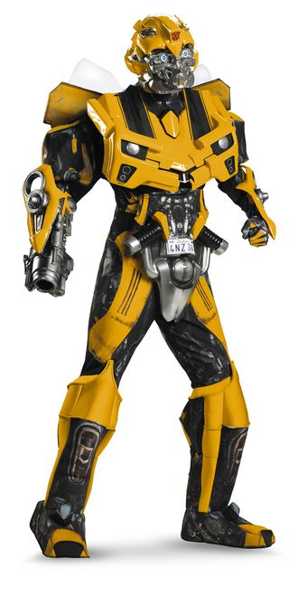 Bumble Bee 3D Deluxe Theatrical Costume - Can anything be cooler than a souped up yellow transforming robot car? Probably not, but you will come pretty close on the cool meter in our 3D Deluxe Theatrical Bumblebee costume. This baby has all the bells and whistles just like the movie version- detachable wings, glowing eyes mask, cannon and body suit with armor and boot covers. #transformers #mens #costume #yyc #calgary