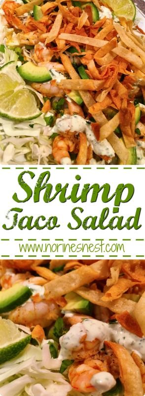 A lite refreshing Shrimp Taco Salad with marinated shrimp on a bed of thinly sliced cabbage and topped with a creamy avocado cilantro lime dressing. So Yummy!!!