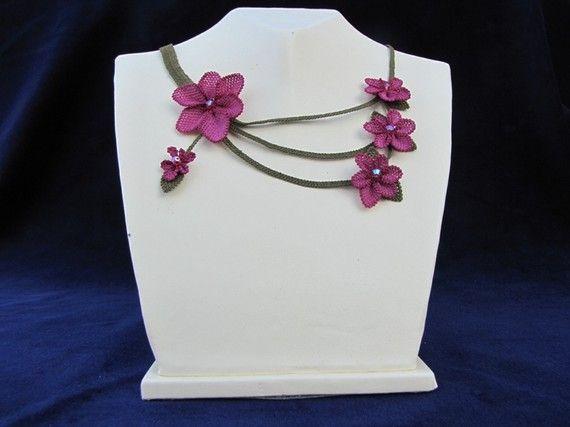 Purple Floral NecklacePlum Necklace Crochet by needlecrochet, $70.00