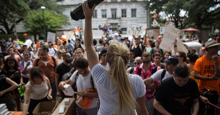 University of Texas Students Find the Absurd in a New Gun Law. At a rally against a state law allowing concealed handguns on campuses, protesters wave sex toys and say they consider the move obscene.