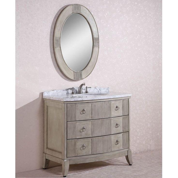 carrara white marble top single sink bathroom vanity w oval mirror overstock shopping