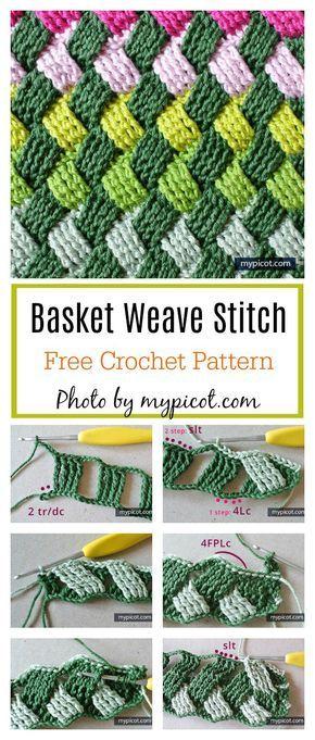 Teste padrão de cesta celta Ponto de malha padrão livre de crochê