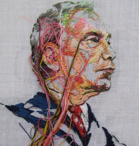 Lauren DiCioccio detail of 20MAY08 (Michael Bloomberg) from my series SEWNNEWS #embroidery #threads #color  laurendicioccio.com