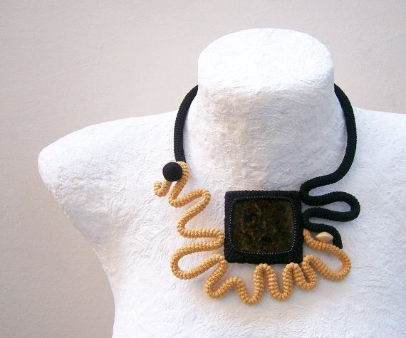 Crochet Necklace Square Granite Stone Mustard by vanessahandmade