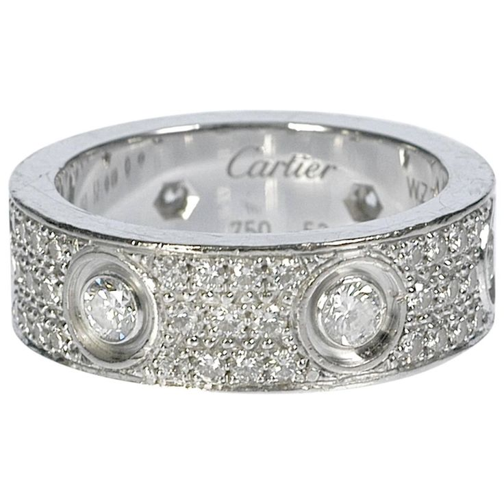Cartier Diamond Gold Love Wedding Band Ring | From a unique collection of vintage wedding rings at https://www.1stdibs.com/jewelry/rings/wedding-rings/