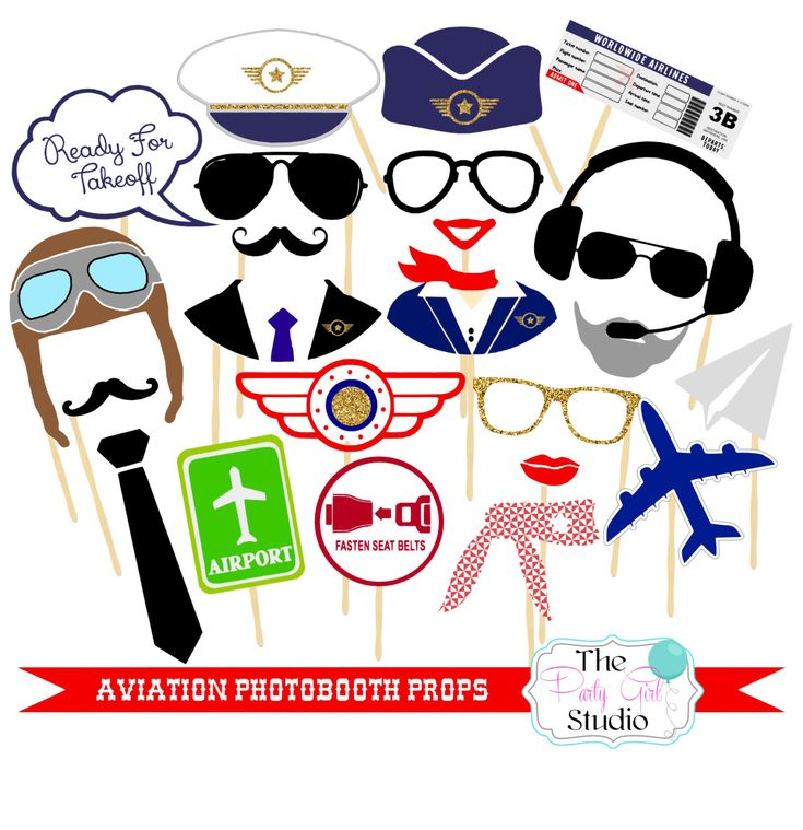 23pc *Aviation Photobooth Props/Going Away Party Props/Pilot Photobooth Props - DIGITAL FILE de ThePartyGirlStudio en Etsy https://www.etsy.com/es/listing/290460627/23pc-aviation-photobooth-propsgoing-away