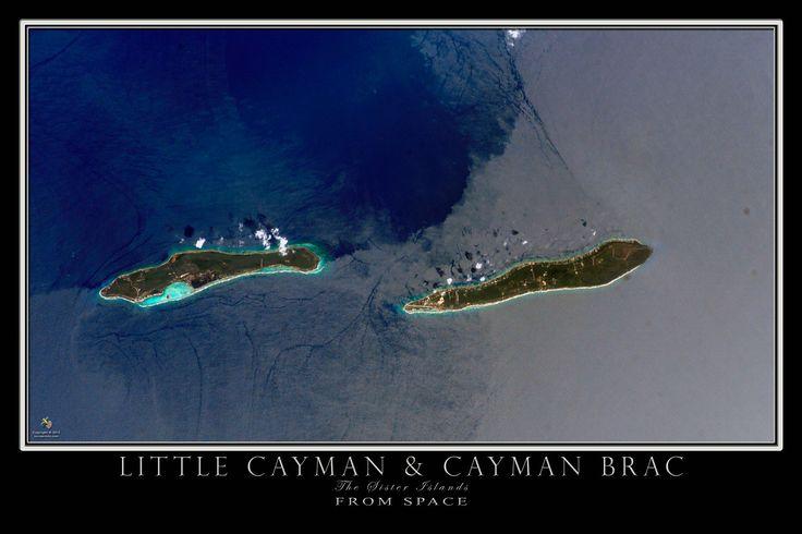 Little Cayman & Cayman Brac Islands From Space Satellite Art Poster