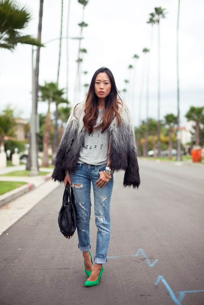 (H Faux Fur Jacket, gifted StyleMint T Shirt, American Eagle Jeans, Zara Pumps, Alexander Wang Rocco Bag, Cartier Watch, gifted JewelMint Mumbai Bracelet)