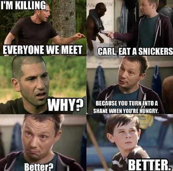 in case you were wondering how to hilariously combine a snickers ad and the walking dead... this is how it's done.