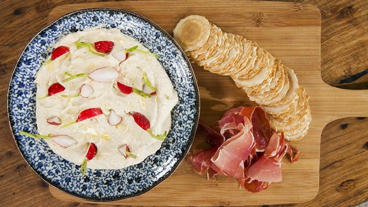 Whipped Ricotta and Onion Spread with Prosciutto