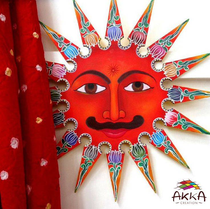 Sun in painted wood with 16 multicoloured rays.   Multicoloured sun decoration, hand painted to hang on the wall of the entrance to welcome.   Entirely handmade.   #sun #wood #painted #multicoloured #rays #decoration #handmade #entrance #welcome #unique #radiant #bohemian #masculine