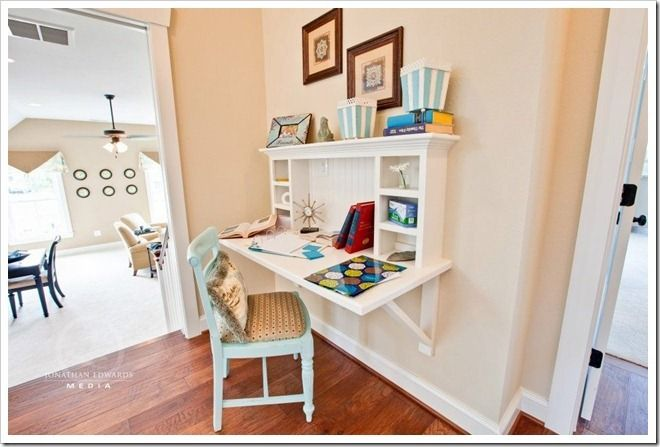 Love this idea for a desk that can be 'put away' when it's not in use! {Sand and Sisal}