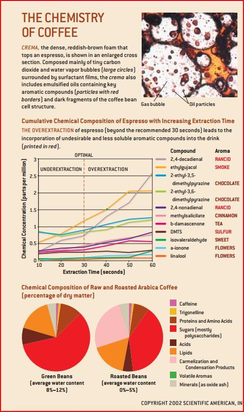 cumulative chemical composition of espresso with increasing extraction time (and over extraction)
