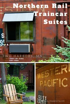 Northern Rail Traincar Suites in Two Harbors, MN. Stay the night on the North Shore in a train car. Northern Rail Traincar Suite's 18 renovated train cars offer themed rooms in actual train box cars.