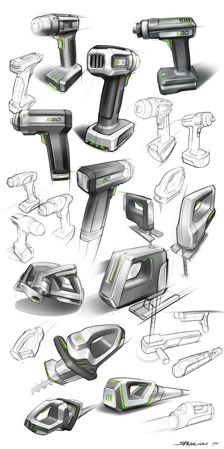Power tool sketches rendered in Photoshop.