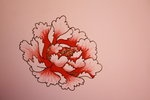 Simple outline peony with reddish pink shading :)