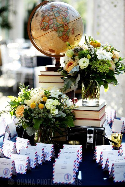 Travel themed wedding reception place card table.