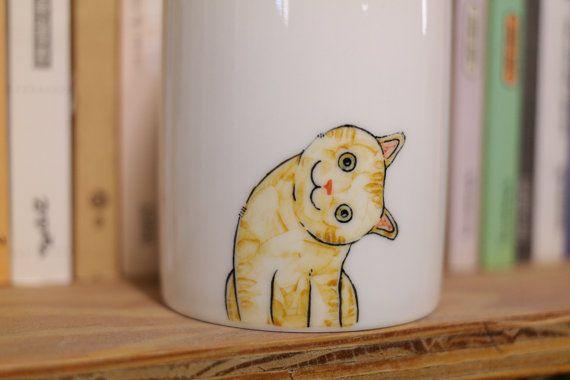Handgemalte Tier Mug Cup - Cute Mug Cup - Cat Becher - Cute cat - Kopf schief Katze