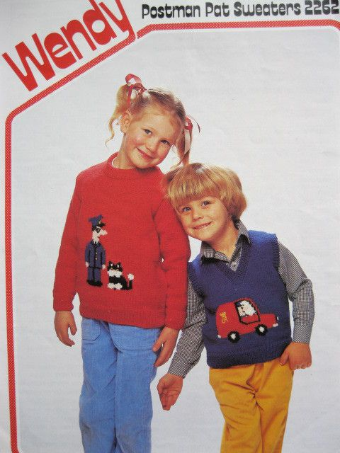 """Wendy knitting pattern 2262 Childs postman pat sweaters chest 20 - 28"""""""