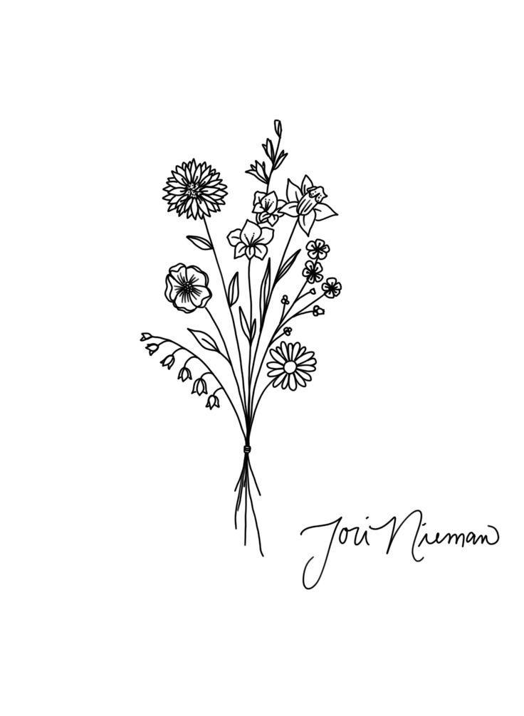 Flower Bouquet Tattoo design – #Bouquet #design #Flower #minimaliste #Tattoo