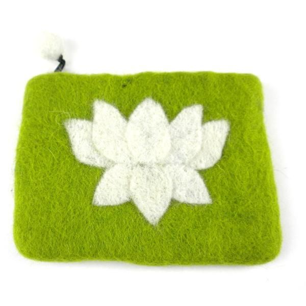 Lotus Flower Felt Coin Purse - Lime