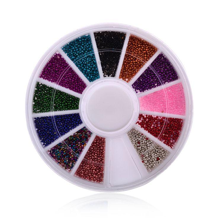 DIY Nail 12 Color Nails Caviar Design Wheel Charms 3D jewelry Nail Art Decorations supplies