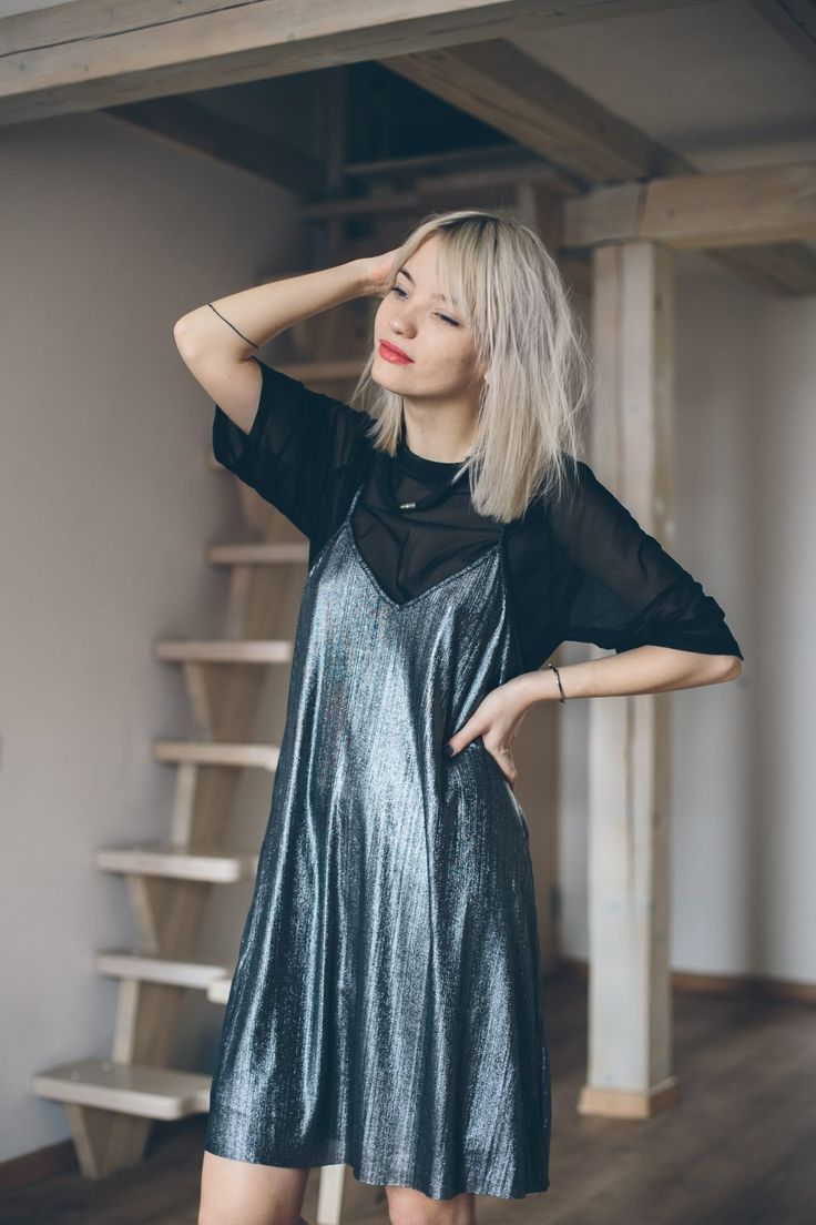 silver dress, silver slip dress, silver dress outfit, outfit, ootd, metallic dress, tea dress, skater dress, blogger outfit