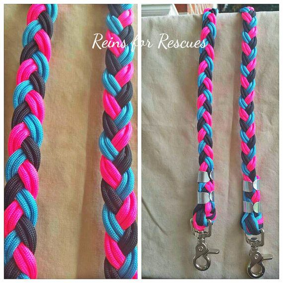 Hot Pink, Turquoise & Black Riding Reins