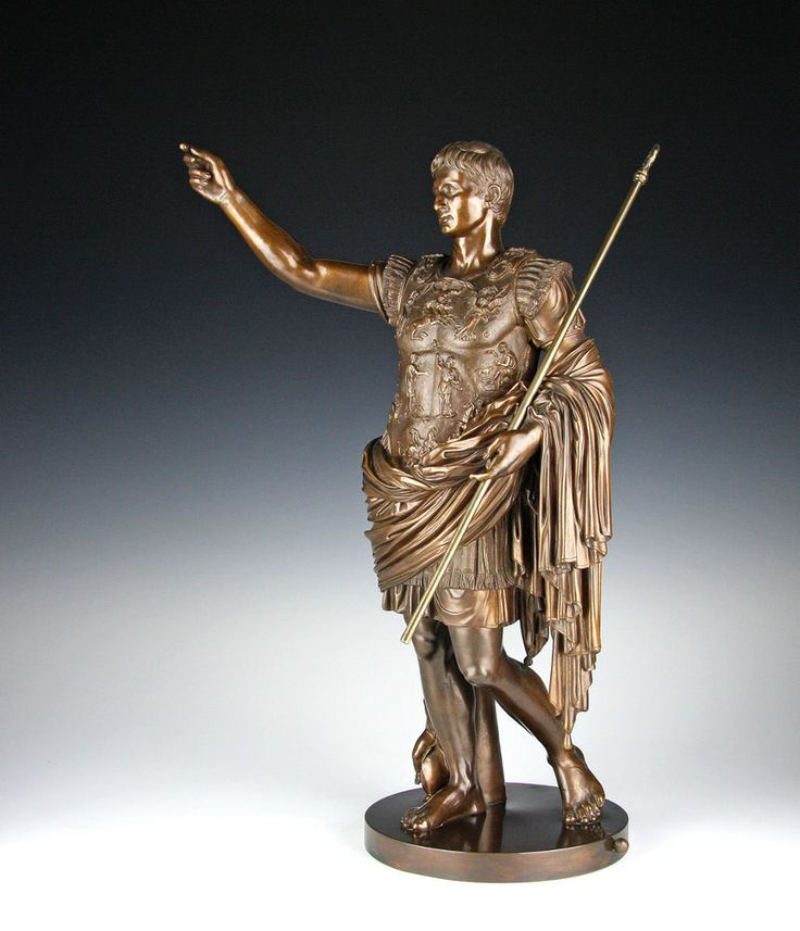 Große Bronze Skulptur Kaiser Augustus Gießerei Nelli Rom um 1880 Fonderia Roma | eBay