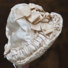 Антикварный французский оригинал шелк чепчик шапка для Jumeau bru steiner eden Bebe doll