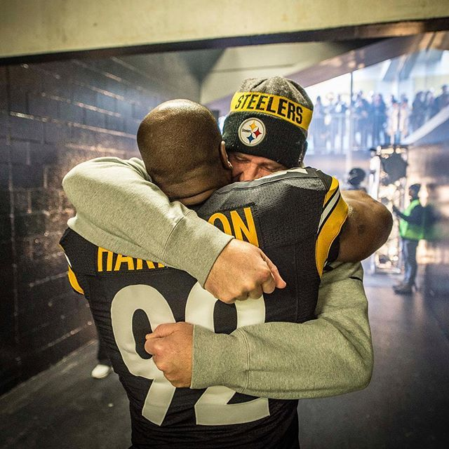 Brotherhood...Ben Roethlisberger starts every NFL Sunday with a pregame huge with his teammate, Steelers linebacker James Harrison.  With a guy like James, and shoot, myself, you never know when it's going to be your last game, your last season.
