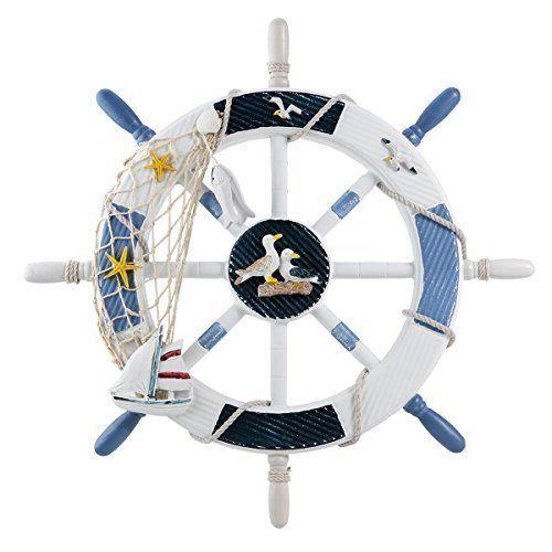 WINOMO 18-Inch Wheel Wall Decor Nautical Decor Nautical Boat Steering Wheel w