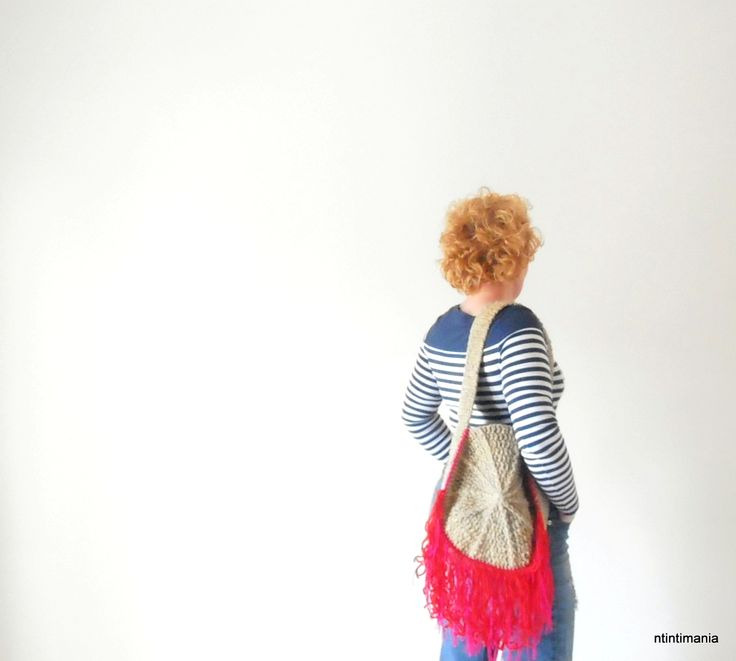 Crochet bag made of upcycled yarns