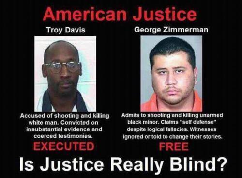 troy davis, george zimmerman, trayvon martin, #justicefortrayvon