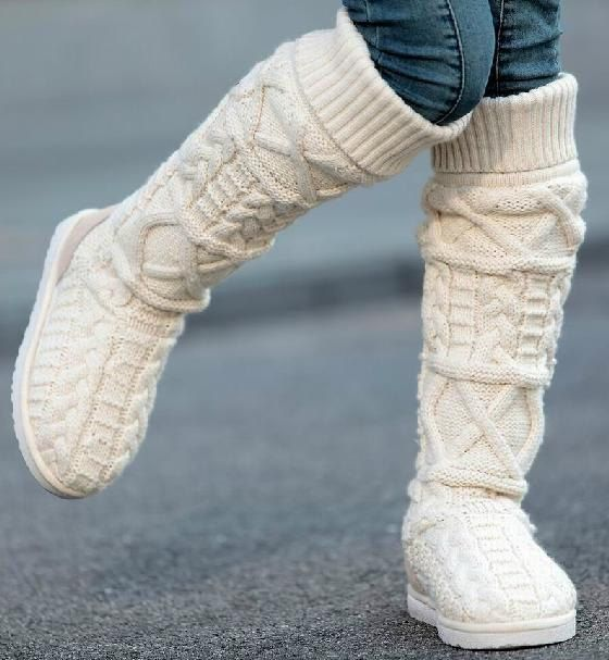 women's fashion designer brand knitted boots Asian ethnic knitting wool handmade thermal flat shoes woolen yarn made for ladies
