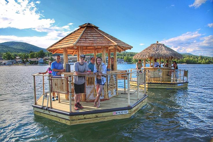 Explore lake on a floating tiki bar lake