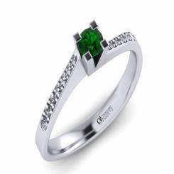 Inel de logodna ATCOM Lux cu smarald si diamante MIRUNA aur alb