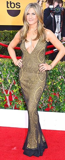 Plunging bronze lace vintage Galliano dress - SAG Awards